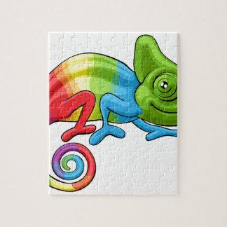Chameleon Cartoon Rainbow Character Jigsaw Puzzle