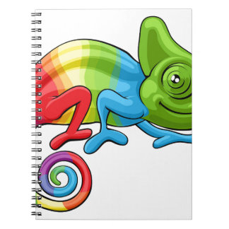 Chameleon Cartoon Rainbow Character Notebook