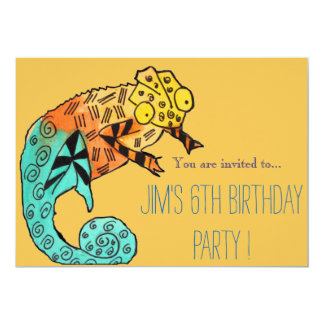 Chameleon reptile illustration boy birthday party card