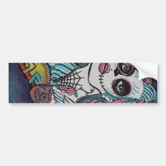 Chameleon Sugar Skull Art Bumper Sticker