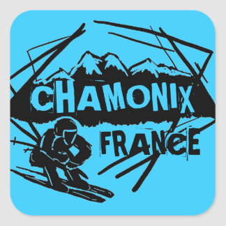 Chamonix France blue ski logo art stickers