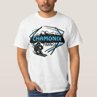 Chamonix France blue skier logo art value tee
