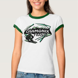Chamonix France green ski logo art ladies tee