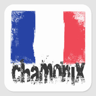 Chamonix Grunge Flag Square Sticker