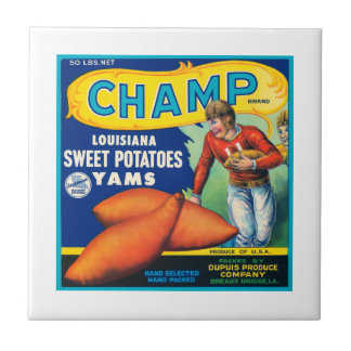 Champ Fruit Crate Label Small Square Tile