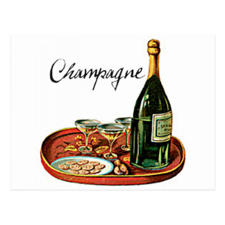 CHAMPAGNE AND BISCUITS VINTAGE PRINT POSTCARD