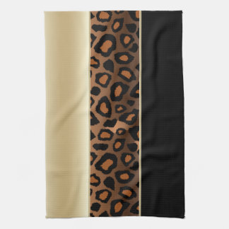 Champagne and Black Leopard Animal Print Tea Towel
