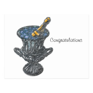 Champagne and Bucket Art Postcard