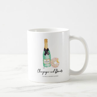 Champagne and Donuts Watercolor Mug