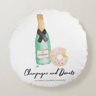 Champagne and Donuts Watercolor Round Pillow
