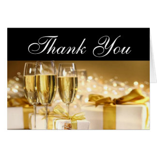 Champagne and Gifts Thank You Notes