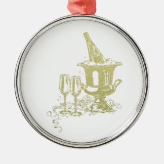 Champagne and Glasses Art Metal Ornament