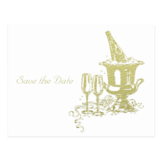 Champagne and Glasses Art Postcard