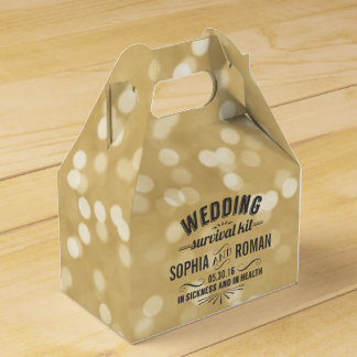 Champagne and Gray Wedding Survival Kit Favour Box