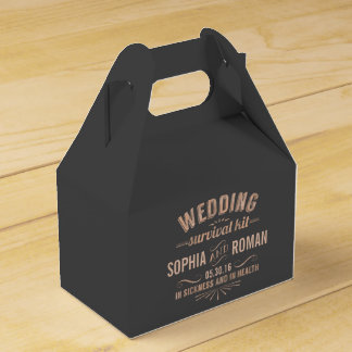 Champagne and Gray Wedding Survival Kit Wedding Favour Box