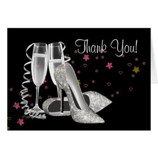 Champagne and High Heel Shoes Thank You Cards