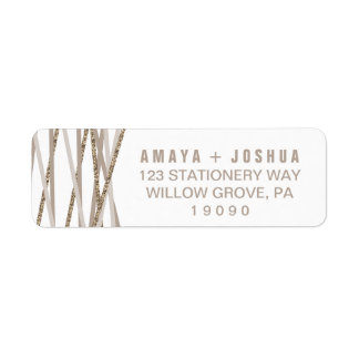 Champagne and Ivory Streamers Wedding Return Address Label