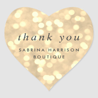 Champagne Bokeh | Personalized Business Thank You Heart Sticker
