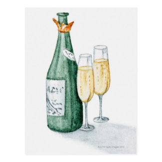 Champagne Bottles and Two Glasses Post Cards