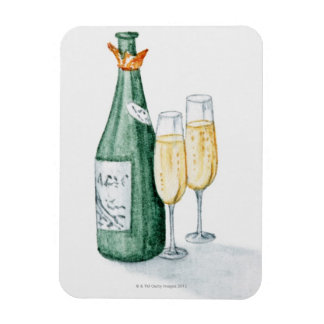 Champagne Bottles and Two Glasses Rectangular Photo Magnet