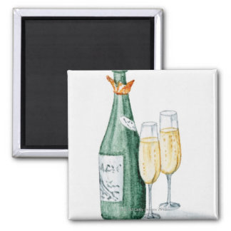 Champagne Bottles and Two Glasses Square Magnet