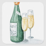 Champagne Bottles and Two Glasses Square Stickers