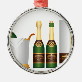 champagne bottles Silver-Colored round decoration