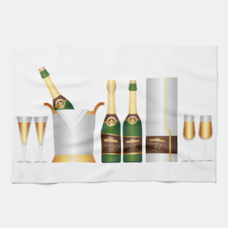 champagne bottles tea towel