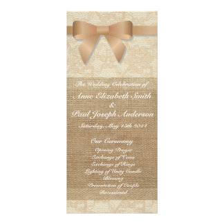 Champagne bow burlap and Lace wedding programs Customized Rack Card