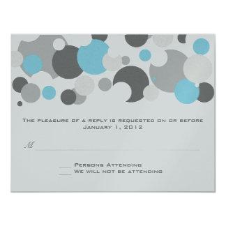Champagne Bubbles Light Blue RSVP 11 Cm X 14 Cm Invitation Card