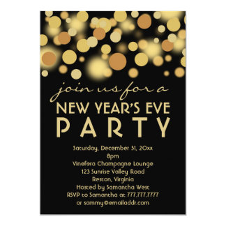 Champagne Bubbles New Year's Eve Party Invitations
