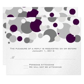 Champagne Bubbles Purple/Silver RSVP 11 Cm X 14 Cm Invitation Card