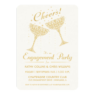 """Champagne Cheer Engagement Party Invitation 4.5"""" X 6.25"""" Invitation Card"""