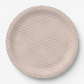 Champagne Chevrons Paper Plate