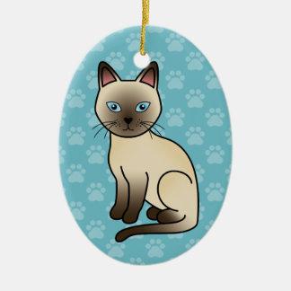 Champagne Coat Tonkinese Breed Cat Illustration Ceramic Ornament