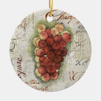Champagne & Cognac Grapes Ceramic Ornament