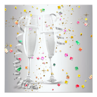 Champagne Confetti New Years Eve Party Invitations