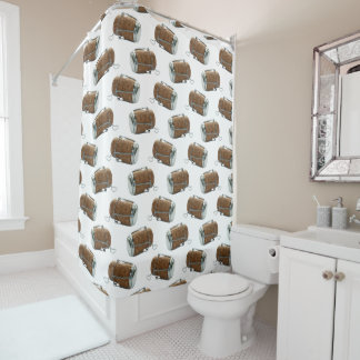 Champagne Cork Polka Dot Pattern Shower Curtain