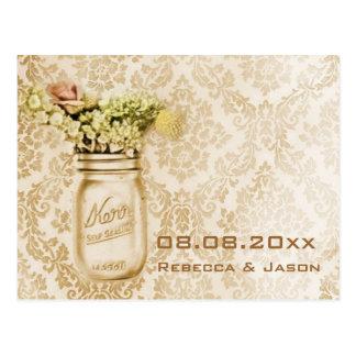 Champagne damask mason jar save the date wedding post cards