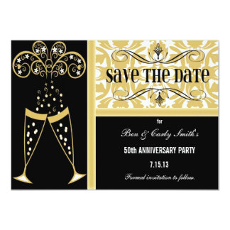 Champagne & Damask Save the Date Invitation