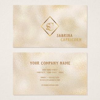 Champagne Dappled Glass Monogram Classic Elegance Business Card