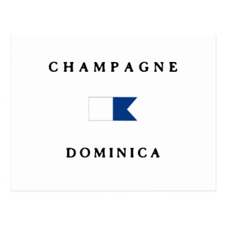 Champagne Dominica Alpha Dive Flag Post Card