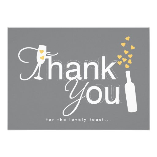 Champagne Engagement Party Thank You Note Announcements