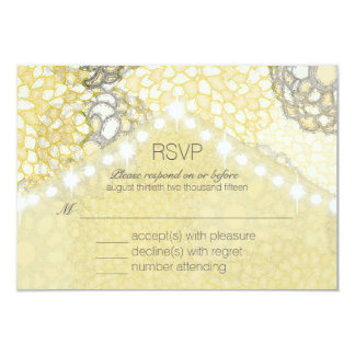 Champagne Flowers and String Lights RSVP Cards
