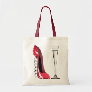 Champagne Flute Glass and Corkscrew Stiletto Shoe Tote Bag