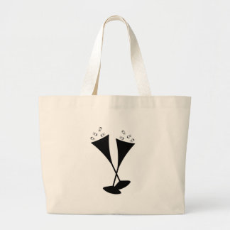 Champagne Flutes in Black and White Bag