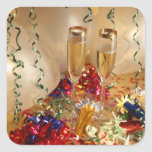 Champagne flutes, streamers and noisemakers square stickers
