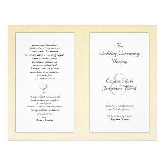Champagne Folded Christian Wedding Program 21.5 Cm X 28 Cm Flyer