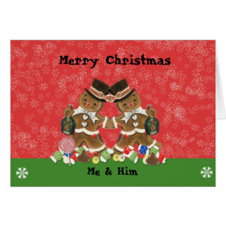 Champagne Gingerbread Man Christmas Card Gay Men