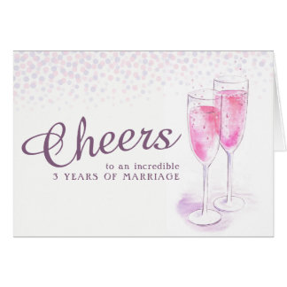 Champagne glass 3rd wedding anniversary art card